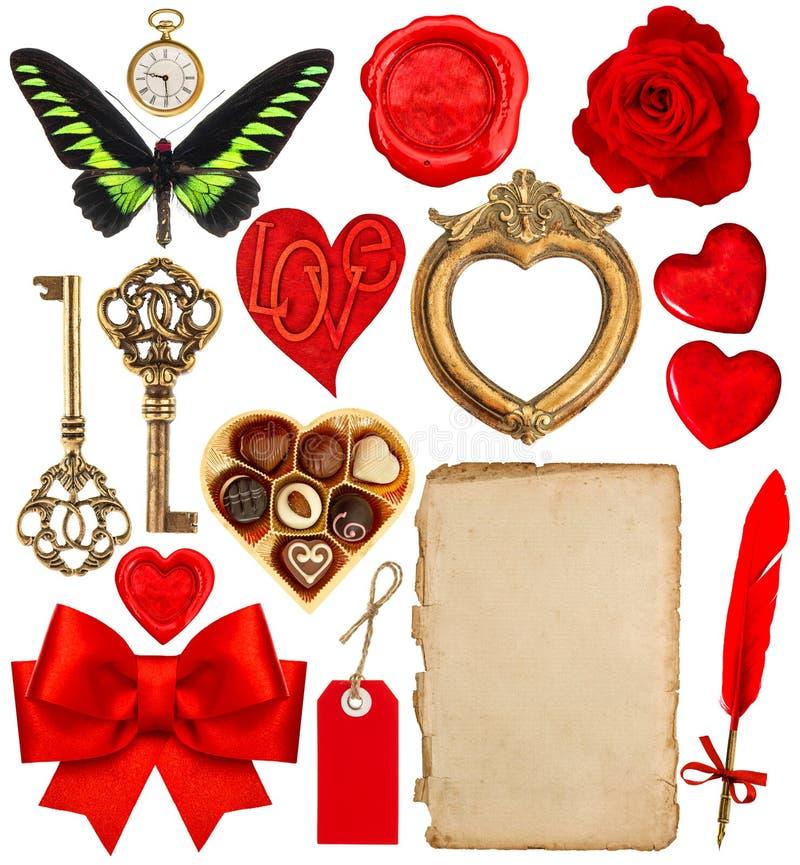 Valentinsgruß-Tageseinklebebuch Papierstift, rote Herzen, goldener Rahmen lizenzfreie stockfotografie