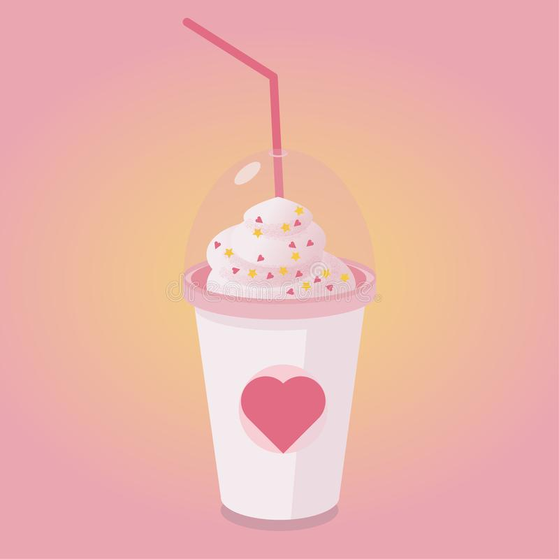 Valentinsgruß-Tagesgrußkarte, Einladung Schale der heißen Schokolade oder des Kaffees mit Sahne und der Papierherzdekoration Vekt vektor abbildung