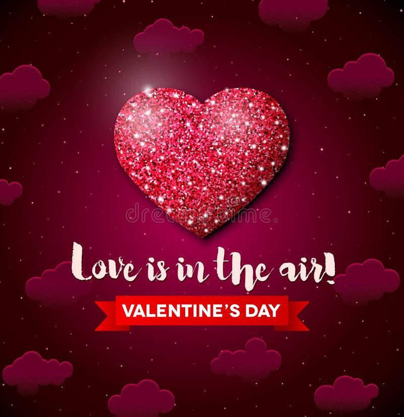 Valentinsgruß-Tagesgrußkarte mit Funkelnherzen stock abbildung
