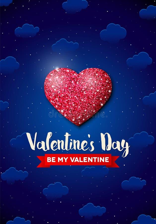Valentinsgruß-Tagesgrußkarte mit Funkelnherzen vektor abbildung