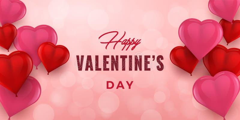 Valentinsgruß-Tageshandgezogene Typografie mit Herzen 3D Feiertagsgrußkarte, Plakat, Fahne, Logo, Verkäufe, Promo Vektor Illustra vektor abbildung