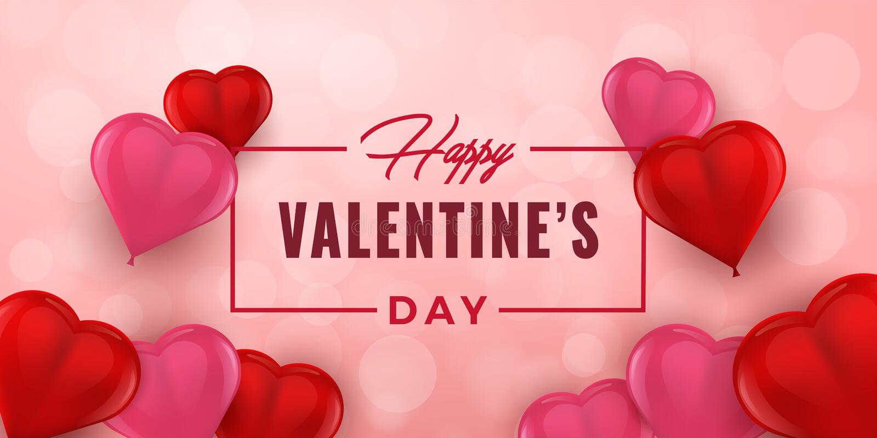 Valentinsgruß-Tageshandgezogene Typografie mit Herzen 3D Feiertagsgrußkarte, Plakat, Fahne, Logo, Verkäufe, Promo Vektor Illustra lizenzfreie abbildung