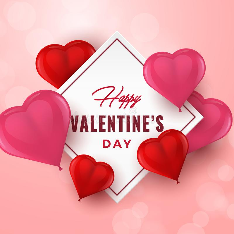 Valentinsgruß-Tageshandgezogene Typografie mit Herzen 3D Feiertagsgrußkarte, Plakat, Fahne, Logo, Verkäufe, Promo Vektor Illustra stock abbildung