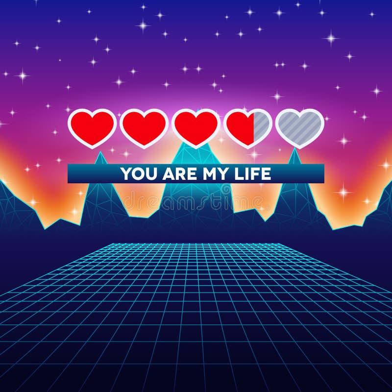 Valentinsgruß-Tagesherzen der themenorientierten Retro- Spielkarte der Liebe mit 80s redeten Neonlandschaft und ladende Statuslei lizenzfreie abbildung