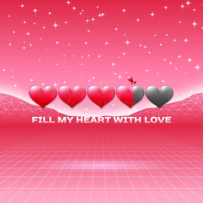 Valentinsgruß-Tagesherzen der themenorientierten Retro- Spielkarte der Liebe mit 80s redeten Neonlandschaft und ladende Statuslei vektor abbildung