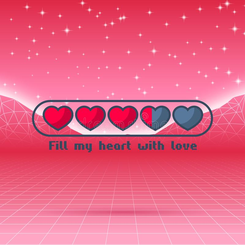 Valentinsgruß-Tagesherzen der themenorientierten Retro- Spielkarte der Liebe mit 80s redeten Neonlandschaft und ladende Statuslei stock abbildung