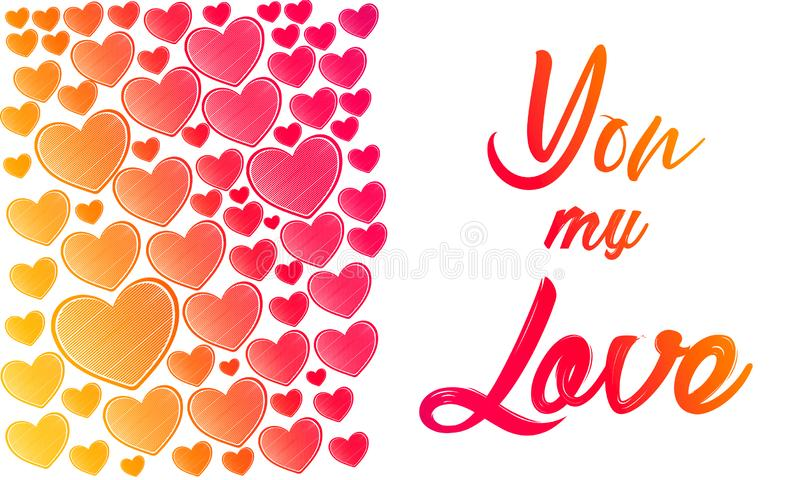 Valentinsgruß-Tagesillustration Glückliche Valentinsgrußkarte mit Grüßen Beschriftungslogo, Kalligraphieaufschrift mit vielen Her lizenzfreie abbildung