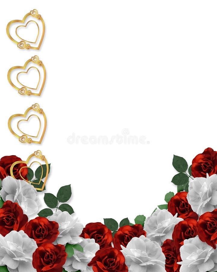 Valentinsgruß-Tagesinner-und -rose-Rand lizenzfreie abbildung