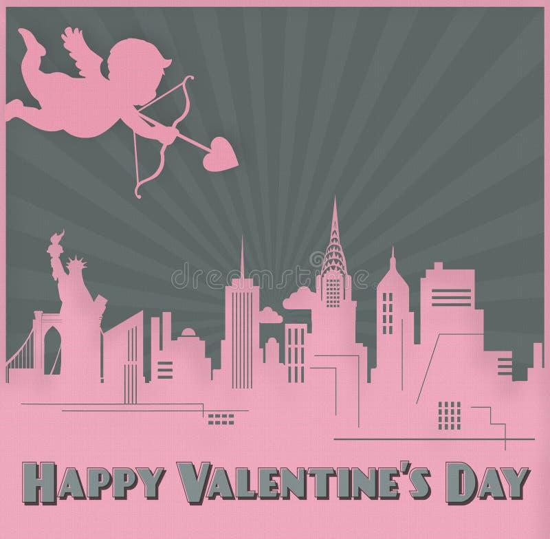 Valentinsgruß-Tageskarte Art New York Skyline Cupid stock abbildung