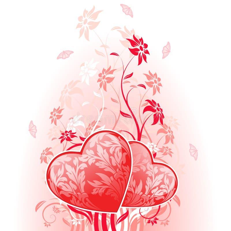 Valentinsgruß-Tageskarte Mit Blumen Stockfoto