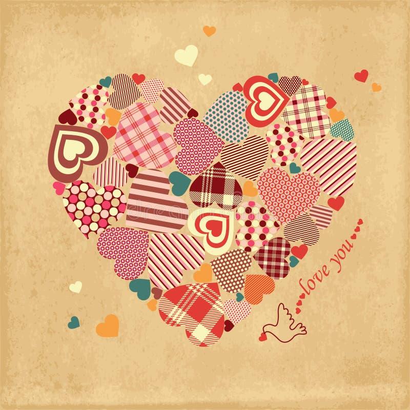 Valentinsgruß-Tageskarte mit Herzen und Taube vektor abbildung