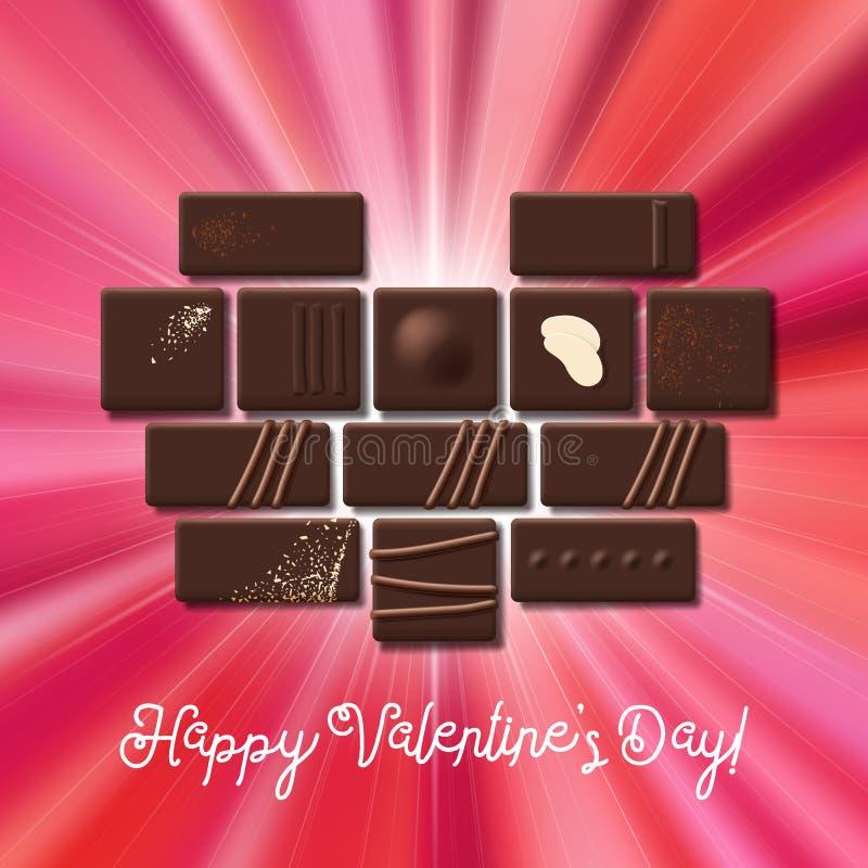 Valentinsgruß-Tageskarte mit Süßigkeits-Herzsammlung der Schokolade süßer lizenzfreie abbildung