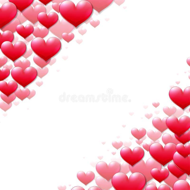Valentinsgruß-Tageskarte mit zerstreuten purpurroten Herzen vektor abbildung