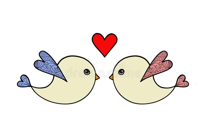 Valentinsgruß-Tageskarte mit zwei Vögeln und Herzen stock abbildung