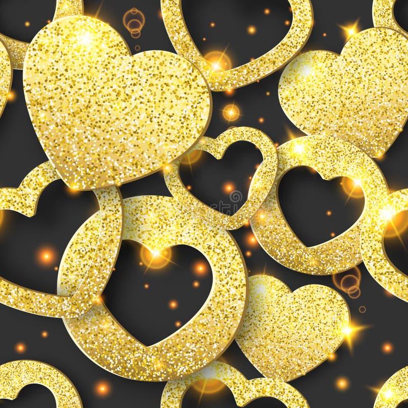 Valentinsgruß-Tagesnahtloses Muster mit glänzenden Herzen Feiertagskartenillustration auf dunklem Hintergrund vektor abbildung