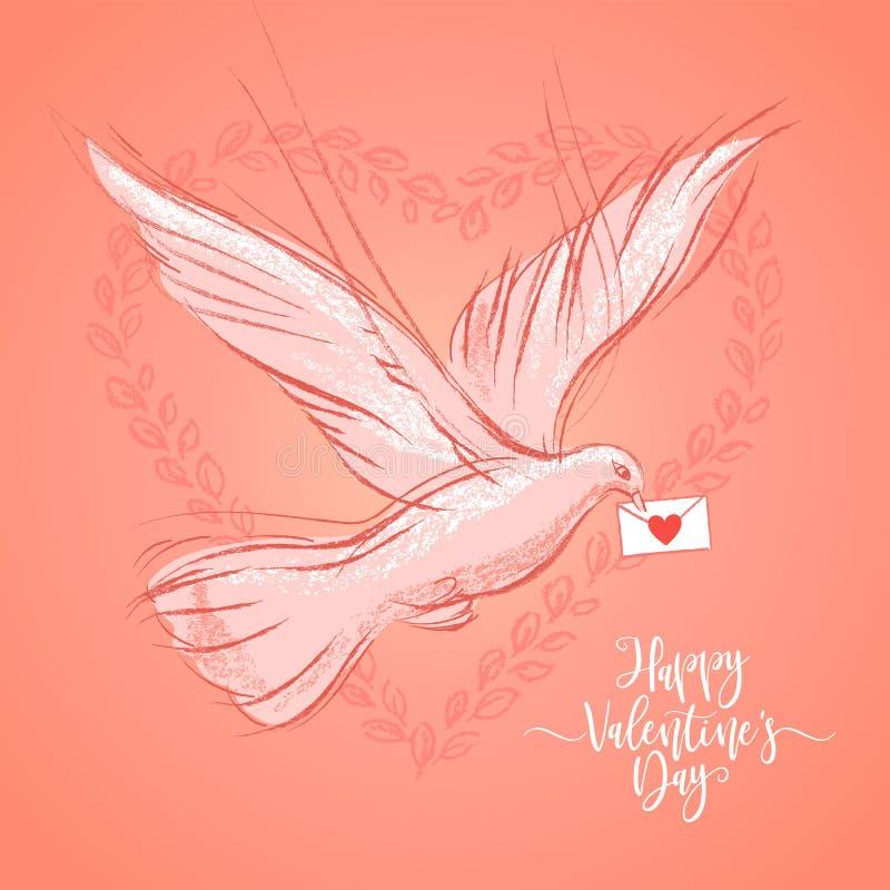 Valentinsgruß-Tagespostkarte mit Taube auf korallenrotem Farbhintergrund Vektorillustration, Gestaltungselement für Glückwunsch vektor abbildung