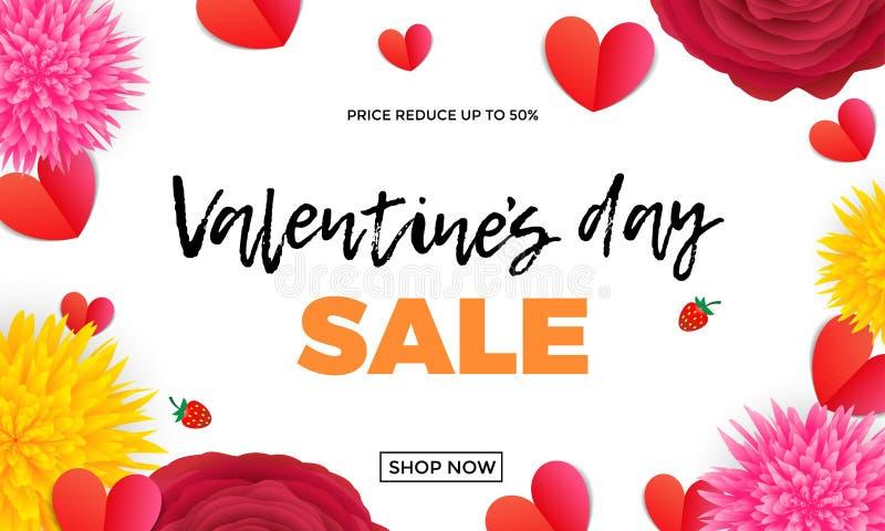 Valentinsgruß-Tagesverkaufsdesignschablone von roten Papierherzen und rosa Rosen- oder Rotesblumenbündel auf weißem Hintergrund V stock abbildung