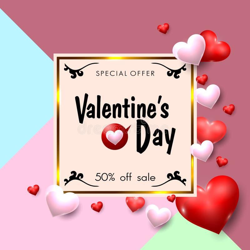 Valentinsgruß-Tagesverkaufsförderungs-Fahne in der Weinlese-Art Auch im corel abgehobenen Betrag stock abbildung