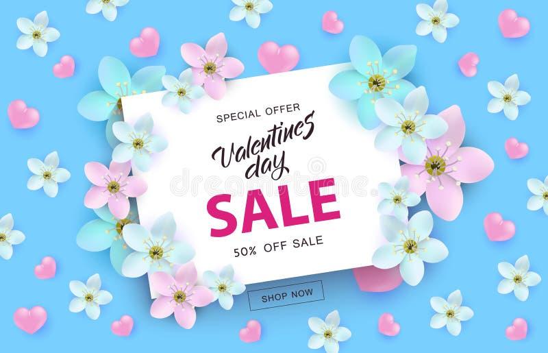 Valentinsgruß-Tagesverkaufsfahne mit Zeichen auf der weißen Karte umgeben durch Rosa und blaue Herzen und Blumen vektor abbildung