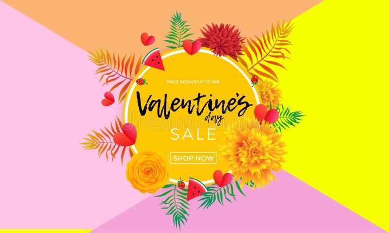 Valentinsgruß-Tagesverkaufsfahne von Herzen, Gelbrosenblumen und Palmblatt oder Beere auf rosa Hintergrund Vektor-Valentinsgrußmo stock abbildung
