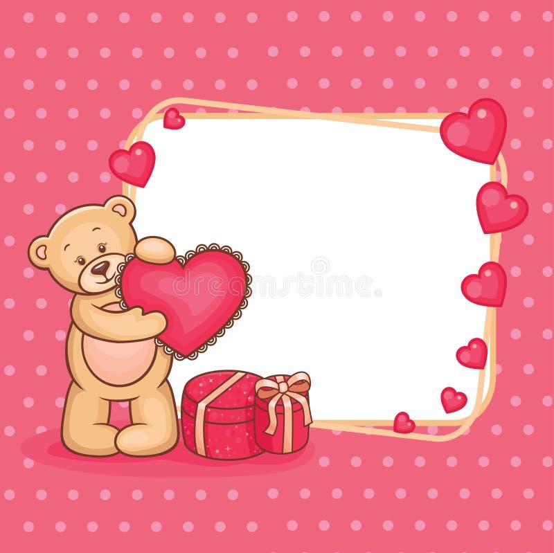 Valentinsgruß-Teddybär mit Zeichen lizenzfreie abbildung
