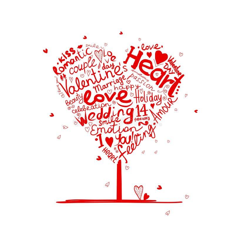 Valentinsgrußbaum-Herzform für Ihr Design stock abbildung