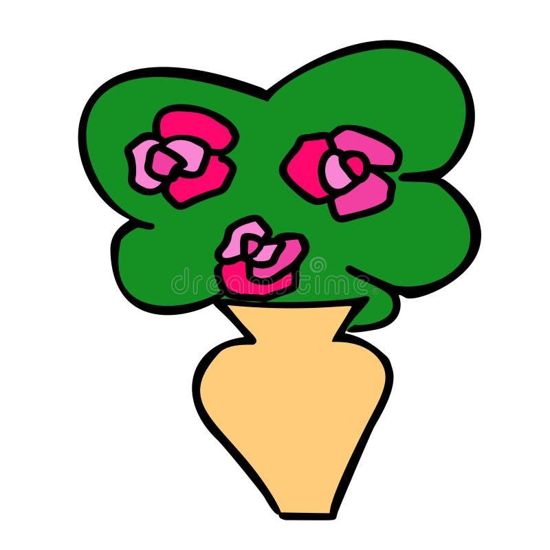 Valentinsgrußfarbtagesrosenblumenstrauß im Vase vektor abbildung