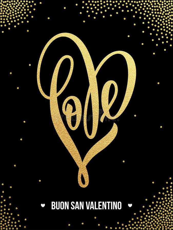 Valentinsgrußgoldliebesherzfunkeln-Musterkarte lizenzfreie abbildung
