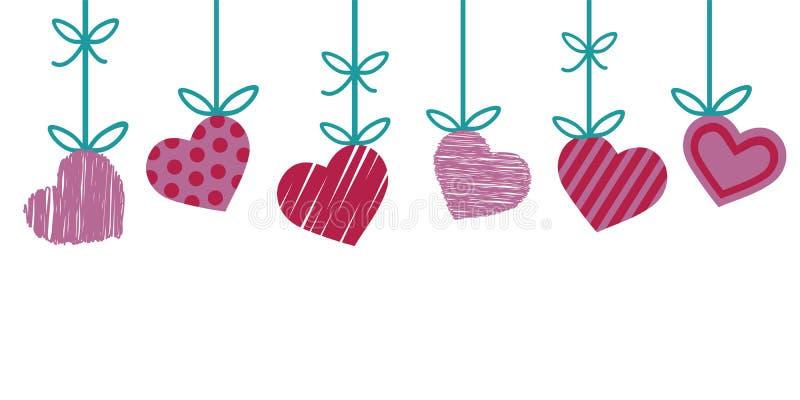 Valentinsgrußgrenze für Grußkarte mit rotem und rosa Herzen mit den Streifen und Punkten, die vom grünen Band an lokalisiert häng lizenzfreie abbildung
