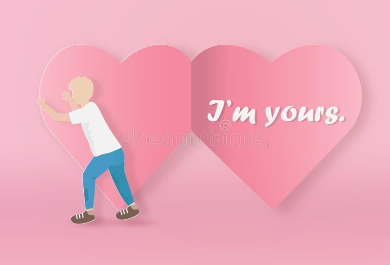 Valentinsgrußgrußkarte mit einem Jungenoffenen Papierherzen vektor abbildung