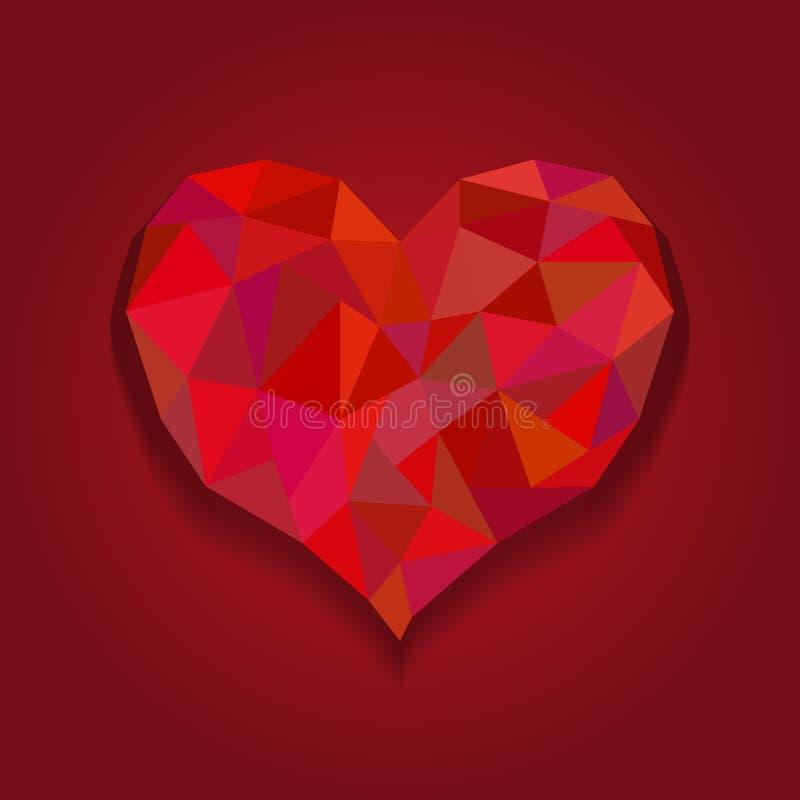 Valentinsgrußherzkarte, Origamiherz in der Diamantart Polygonale Zusammenfassung des roten Herzens auf roten Hintergründen lizenzfreie abbildung