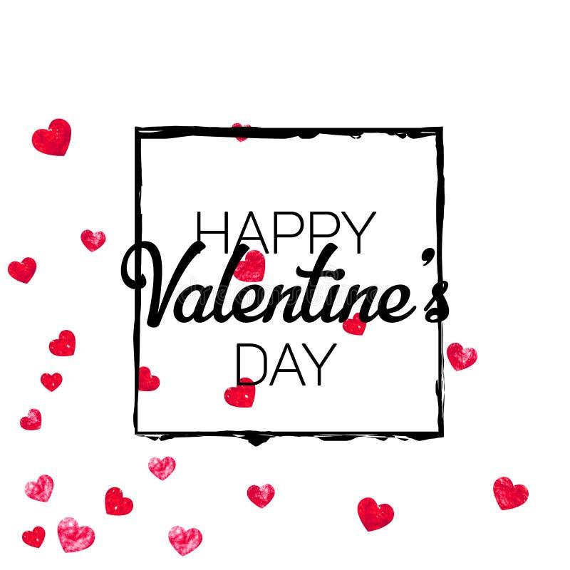 Valentinsgrußhintergrund mit Goldfunkelnherzen 14. Februar Tag Vektorkonfettis für Valentinsgrußhintergrundschablone lizenzfreie abbildung