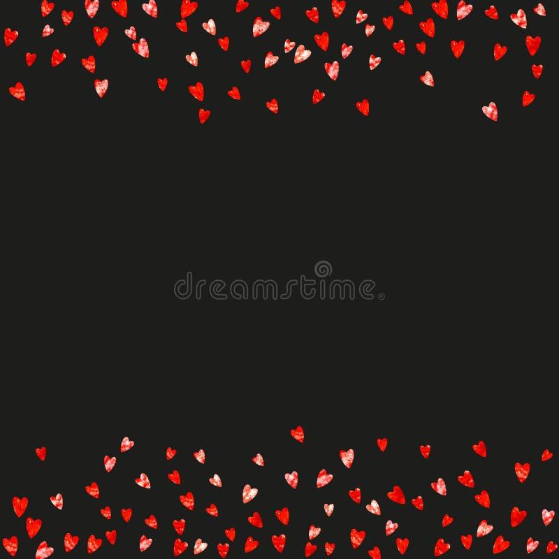 Valentinsgrußhintergrund mit rosa Funkelnherzen 14. Februar Tag Vektorkonfettis für Valentinsgrußhintergrundschablone vektor abbildung