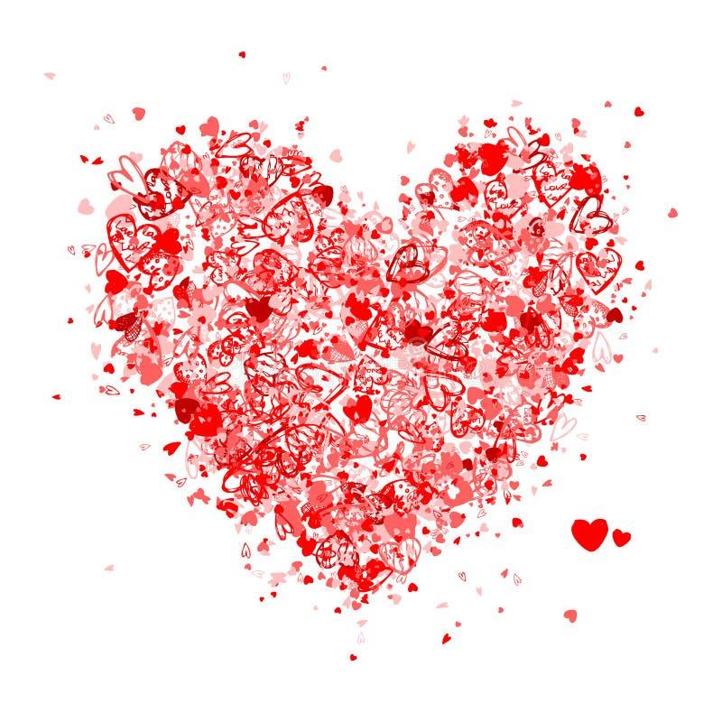 Valentinsgrußinnerform für Ihre Auslegung lizenzfreie abbildung