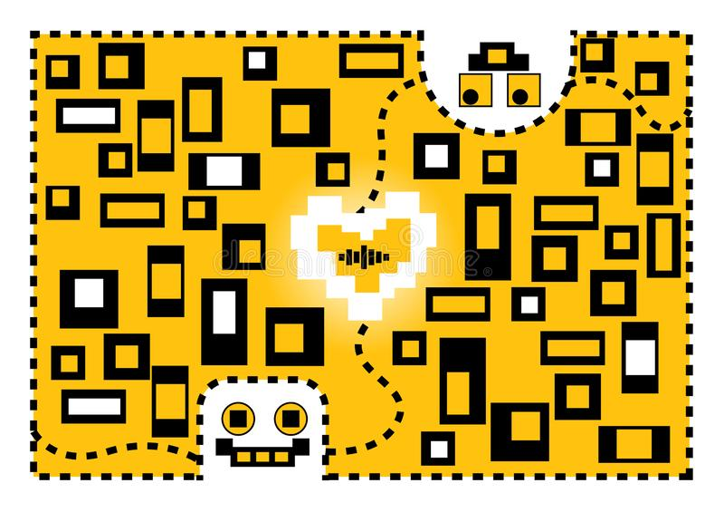 Valentinsgrußkarikatur-Roboterliebe Stilisiert grünes Inneres der vektorabbildung lizenzfreie abbildung