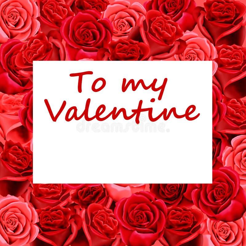 Valentinsgrußkarte auf Bett der Rosen lizenzfreie abbildung