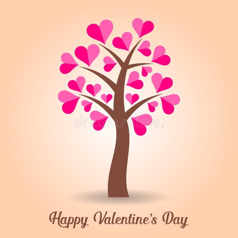 Valentinsgrußkarte mit Baum vektor abbildung