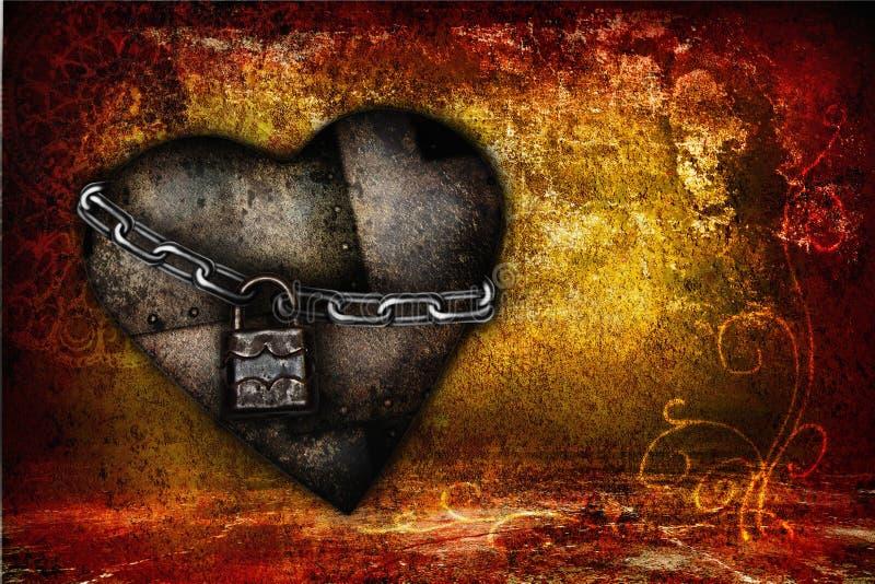 Valentinsgrußkarte mit Eisenherzen lizenzfreie stockfotos