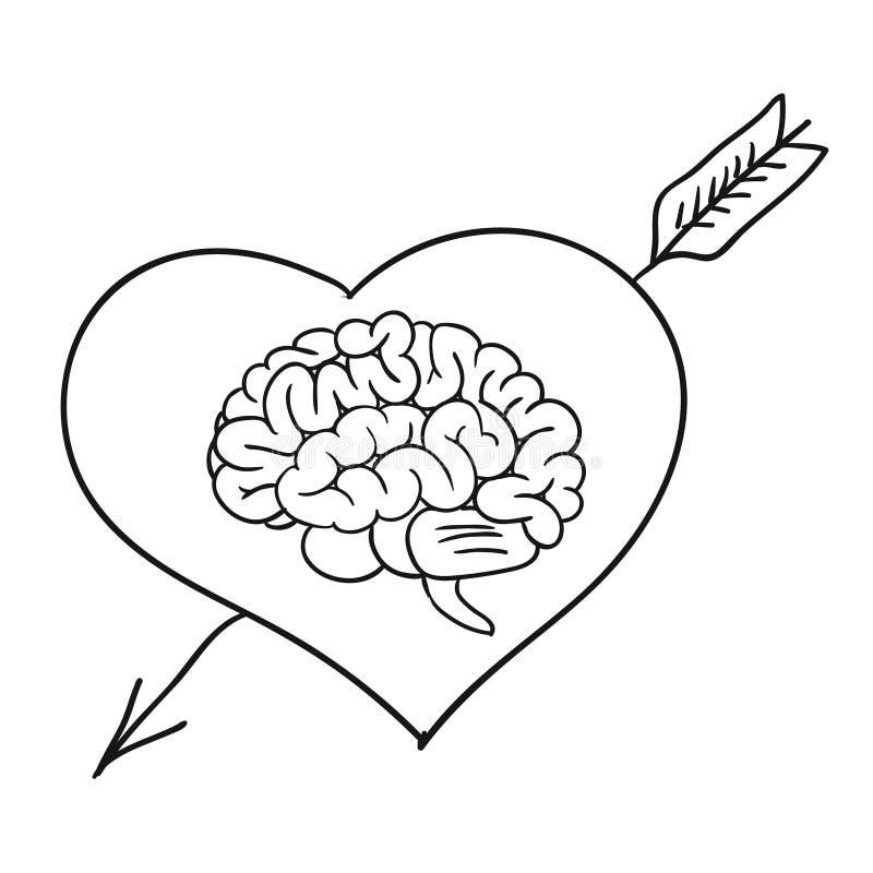 Valentinsgrußkarte mit Gehirn lizenzfreie abbildung