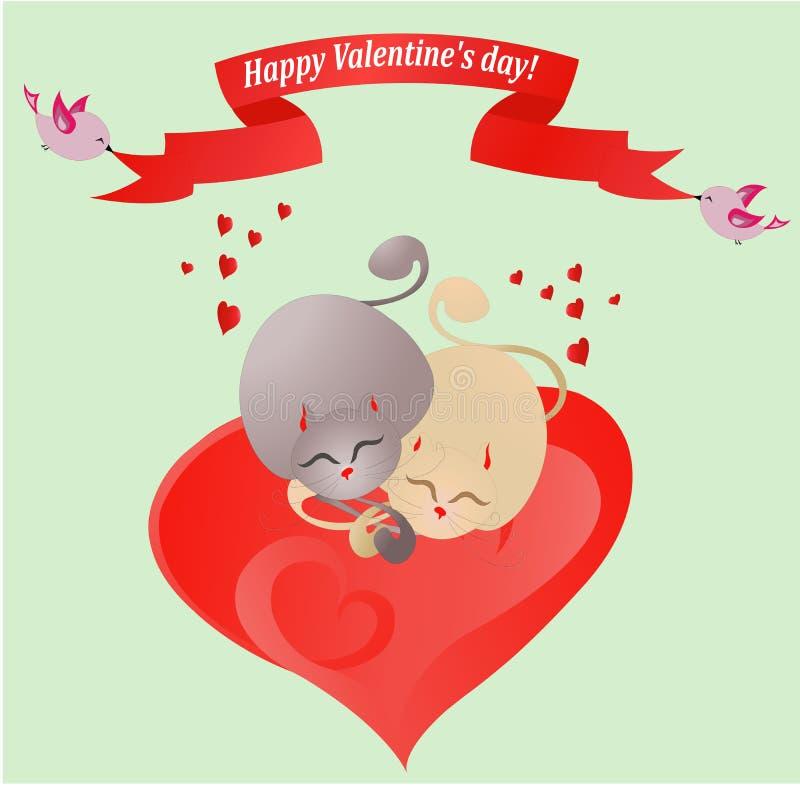 Valentinsgrußkarte mit liebevollen Katzen (Vektor) stockfotografie