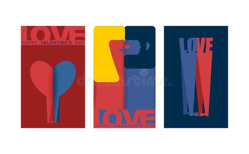 Valentinsgrußkartensatz Über weißem Hintergrund geliebte Mann- und Frauenliebe Zwei Zahlen Umarmung Vergnügen und Leidenschaft lizenzfreie abbildung