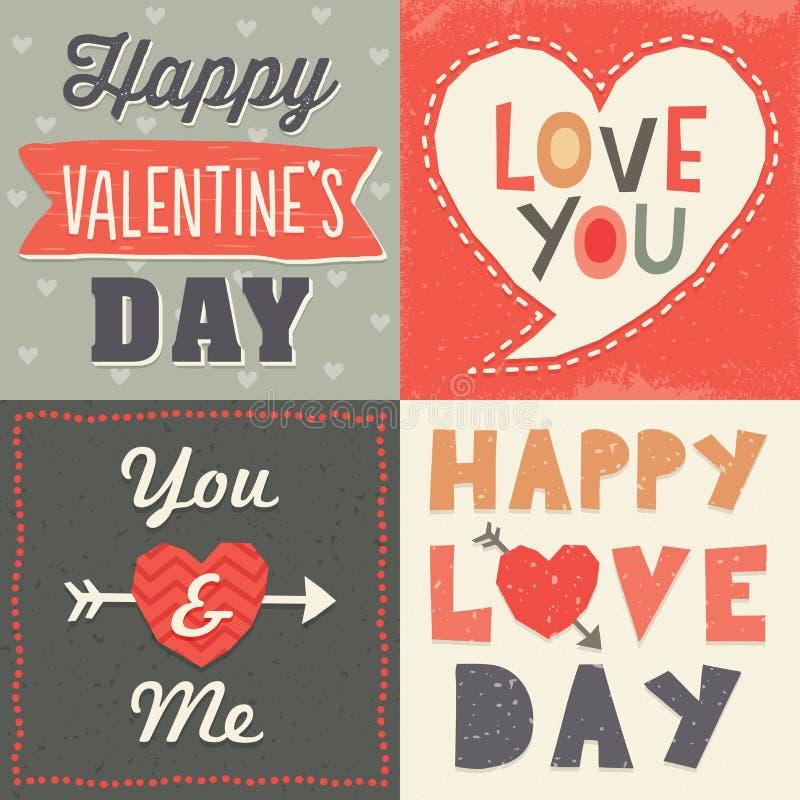Valentinsgrußkartensatz des netten Hippies typografischer lizenzfreie abbildung