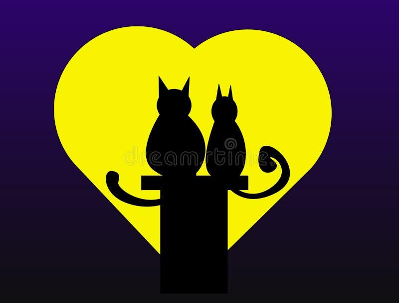 Valentinsgrußkatzen lizenzfreie abbildung