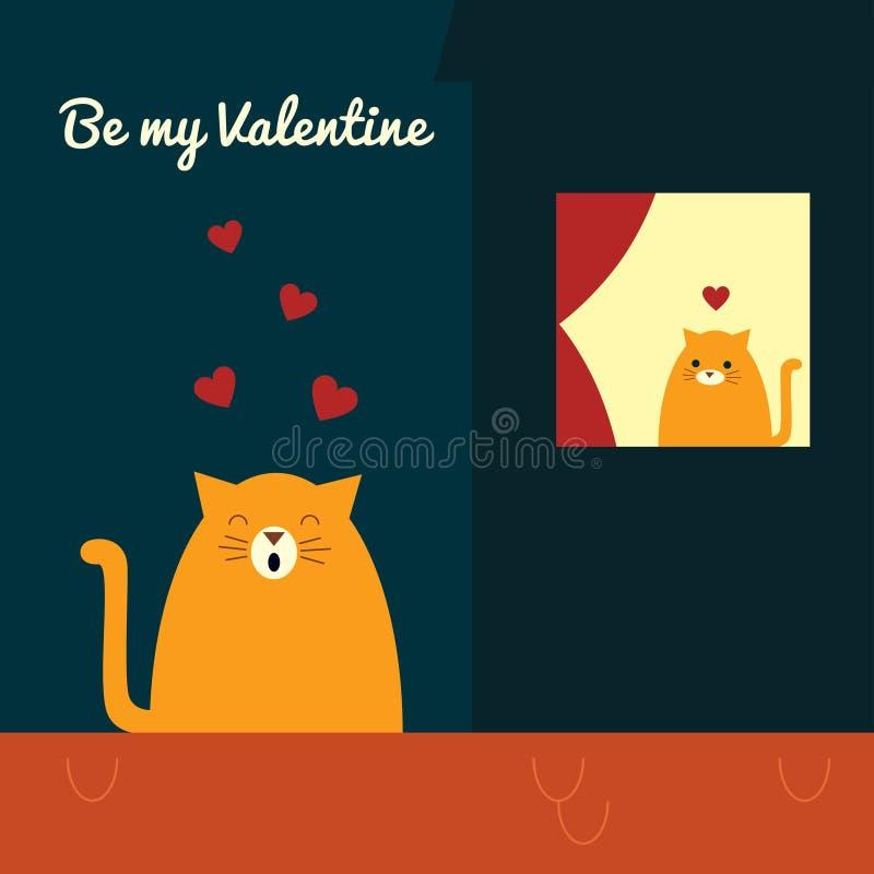 Valentinsgrußkatzen-Dachserenade vektor abbildung