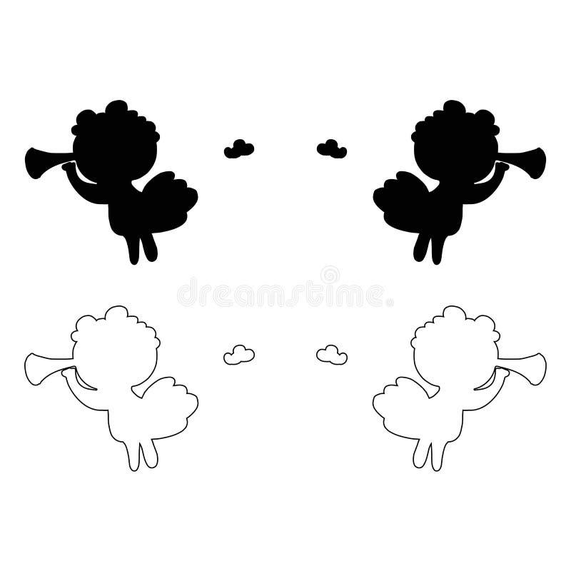 Valentinsgrußliebes-Entwurfs des Engelsflügelfliegenamors dünne Linie Vektorikone des minimalistic Weihnachtsweihnachts lizenzfreie abbildung