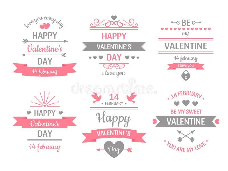 Valentinsgrußtagaufkleber Weinlesevalentinsgruß-Kartenfahne, Liebesrahmen und Retro- Liebeswunsch-Grußkartenvektorillustration stock abbildung