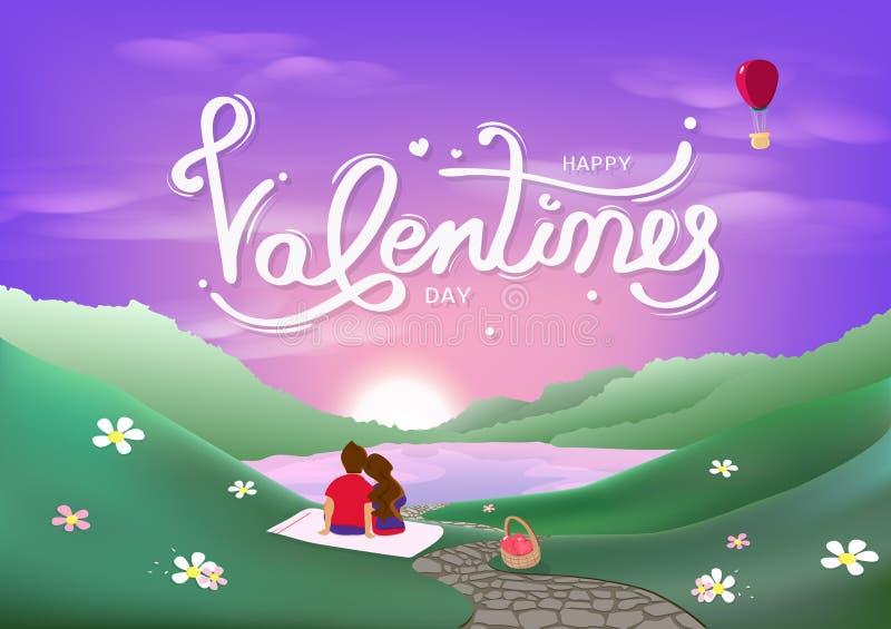 Valentinsgrußtages-, des Glückes des Liebhabers, Romanze des Konzeptes, der Kalligraphiedekoration, der Landschaftsszene, Purpurr vektor abbildung