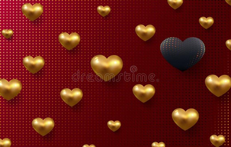 Valentinsgrußtagesfeiertagshintergrund mit metallischen Herzen 3d in den Schwarz- und Goldtönen Gitterplan mit dekorativen Herzen vektor abbildung