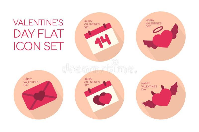 Valentinsgrußtagesflacher Ikonensatz stock abbildung