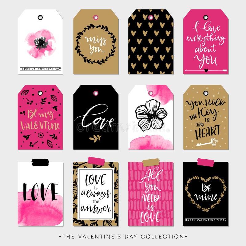 Valentinsgrußtagesgeschenktags und -karten Kalligraphiegestaltungselemente stock abbildung